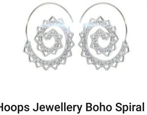 Jewelry - 5 for $25!!  Boho Silver spiky spiral hoops